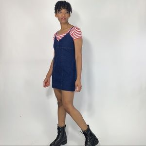 1990's Vintage Stretchy Denim Mini Dress